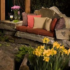 Stone sofa we crafted from Western PA Sandstone.