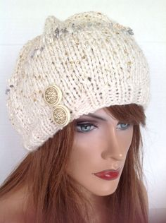 Slouch Beret Hat Hand Knit Isaac Mizrahi Designer Fashion Gold Winter Snow Ski Hip Chic Sequins Snowboard Female Stylish Sparkle Christamas by HANDKNITS2LOVE on Etsy