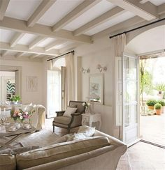 Off white painted beams