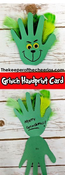 Grinch Handprint Card, Christmas card