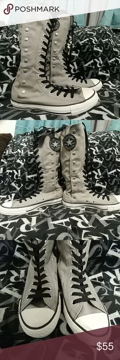 Brand New Converse! Calf high gray converse..Never worn. They open from inside and outside (if you don't wanna undo all the laces) Converse Shoes Sneakers