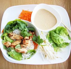 chicken green salad and sauce