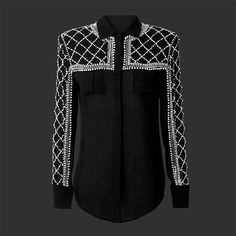 Classic French couture meets urban chic #HMBalmaination Beaded silk blouse 499 AED