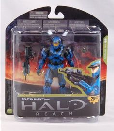 McFarlane Toys Halo Reach Series 4 Spartan Mark V Male Action Figure by McFarlane Toys. $18.86. This Spartan features the iconic armor in classic Blue Team colors. Figure includes Assault Rifle and Frag Grenade. Figure features multiple points of articulation. From the Manufacturer                McFarlane Toys is proud to present our forth line of action figures from the blockbuster video game, Halo Reach. Halo Reach Series 4 is packed with figure firsts such as our...