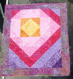 Batik Quilted Wall Hanging Table Topper Mini by MaryMackMadeMine