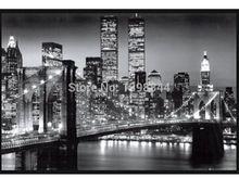 Gratis verzending klassieke zwarte custom manhattan new york behang home decor muursticker retro poster psv shippingr#0562 gratis(China (Mainland))