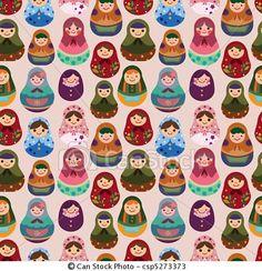 ベクター - seamless, ロシア人, 人形, パターン - ストックイラスト, ロイヤリティーフリーイラスト, ストッククリップアートアイコン, ロゴ, ラインアート, EPS画像, 画像, グラフィック, ベクター画像, アートワーク, EPSベクターアート