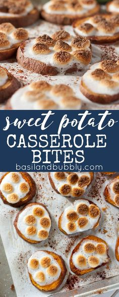 Sweet Potato Casserole Bites are baked in the oven and have all the flavor of the classic Thanksgiving side dish, in an appetizer! One of our FAVORITE sweet potato recipes!