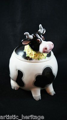 Vintage Fitz and Floyd OCI Omnibus Pottery Black & White Cow Cookie Jar