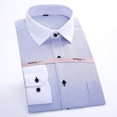 New Arrival High Quality Men Clothes Dress Shirts Men Striped Shirt Formal Male Shirts Work Wear