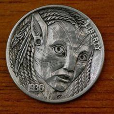 Token Star Hobo Nickel Style Fantasy Coin Goat Head Winged Devil on Five Pt