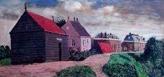 Dijkhuizen (Steenwijk), acryl op paneel, Herman Berserik (1921-2002)