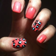 coral and blue leopard nails