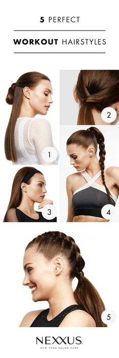 Why should you have to sacrifice your hairstyle every time you work out? These practical - and stunning - gym looks can stand up to your sweat session and whatever comes next. Plus, you only need 1 Nexxus product to achieve each look (it doesn't get My Hairstyle, Pretty Hairstyles, 7 Workout, Natural Hair Styles, Short Hair Styles, Locks, Workout Hairstyles, About Hair, Hair Today