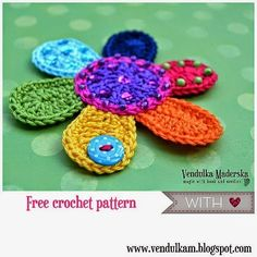 Colorful free pattern of crocheted flower