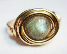 Labradorite Ring  Labradorite 14K Gold Filled by SpiralsandSpice, $29.00