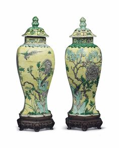 A pair of yellow-ground famille verte hexagonal vases and covers, China, Kangxi period - Alain. Vase Centerpieces, Vases Decor, David Rockefeller, Dragon Bowl, White Dragon, Chinese Ceramics, Blue And White, Yellow, Chinese Antiques