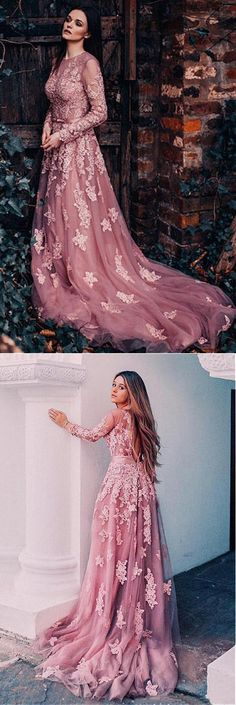 Pink Tulle Jewel Neckline Long Sleeves A-line Prom Dresses With Lace Appliques OK909 #pink #appliques #tulle #longsleeves #lace #prom #okdresses