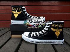 Famous Brand Bon Jovi Hand Painted Sneaker Black High Top Converse Canvas Women Men Shoes