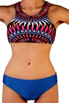 High Neck Tankini Swimsuit With Blue Bottom ANSHIKA - ANSHIKA - 1