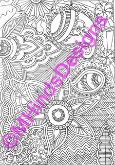 Printable Coloring Page Zentangle Doodle by MHindsDesigns