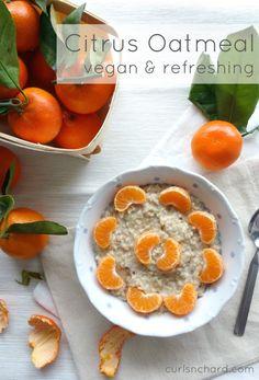 Citrus Oatmeal - a vegan and refreshing breakfast | curlsnchard.com