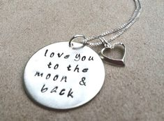 necklace, love you to the moon and and back, valentine gifts,  personalized necklace, quote jewelry, mom necklace, childrens necklace