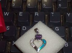 LOOK!!! A STERLING SILVER GENUINE AMETHYST AND AUSTRALIAN BLUE FIRE OPAL AND AAAAA CZ HEART NECKLACE