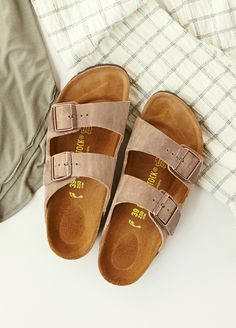 Arizona Birkenstock | Classic two-stra style Birkenstock with fully adjustable straps. Thick and supple suede upper with comfortable, lightweight sole.