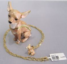 New Trinket Box Gift Swarovski Crystals Painted Chihuahua Dog Animal Necklace