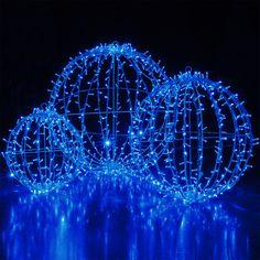 blue led commercial mega sphere christmas light ball fold flat - Sphere Christmas Lights
