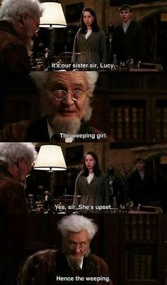 The Chronicles of Narnia: The Lion, the Witch and the Wardrobe. The Professor (Digory) is hilarious Narnia Movies, Narnia 3, Citations Film, Funny, Hilarious, Science Fiction, Chronicles Of Narnia, Mystery, Harry Potter