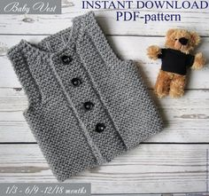With this pattern by Easy Knitting Patterns you will lear how to knit a PDF pattern Knit baby vest step by step. It is an easy tutorial about vest to knit with crochet or tricot. Baby Knitting Patterns, Baby Patterns, Pdf Patterns, Pattern Ideas, Baby Outfits, Kids Outfits, Knit Vest Pattern, Diy Bebe, Easy Knitting