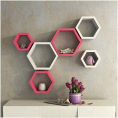 Adorn the walls of your home with beautiful and unique hexagon wall shelves. Decornation offers wall shelves in reasonable prices and premium quality. Bookshelf Design, Wall Shelves Design, Wall Rack Design, Motif Hexagonal, Hexagon Wall Shelf, Dining Room Shelves, Decoration Entree, Bedroom Bed Design, Bedroom Wall