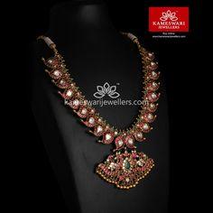 Buy Necklaces Online   Bridal Kemp Mangomala from Kameswari Jewellers Ruby Jewelry, Trendy Jewelry, Wedding Jewelry, Fashion Jewelry, Gold Fashion, Fashion Necklace, Gold Jewelry, Mango Mala Jewellery, Kerala Jewellery