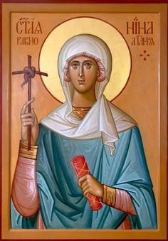 Icon of Saint Nina Church Icon, St Brigid, Roman Church, Paint Icon, Religious Paintings, Byzantine Icons, Icon Collection, Religious Icons, Orthodox Icons