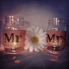 Brown Burlap Mr and Mrs Mason Jar Set Burlap Wedding Decorations Mason Jar Wedding Decoration Mr and Mrs Mason Jars. $20.00, via Etsy. - fashion culture