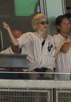 Lady Gaga at the Yankees game