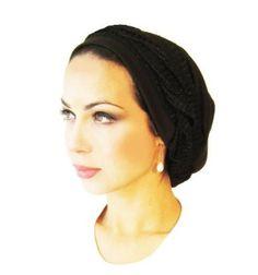 Pre Tied Head Scarf & Tichel Bandana Black Jersey Knit Sparkle Wrap Regular - One Size ShariRose. $24.99
