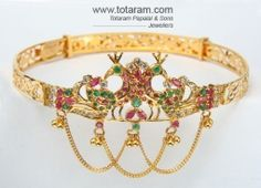 Buy 22K Gold Peacock Arm Patti - ARMV099 with a list price of $1,664.99 - 22K Indian Gold Jewelry from Totaram Jewelers