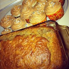 white cupcakes with caramel buttercream frosting & Elvis bread (banana ...