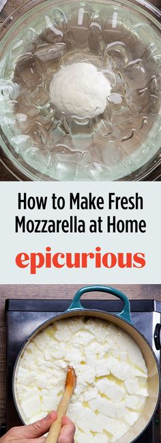 Step-by-step instructions with photos on how to make fresh mozzarella in 30 minutes. Mozzarella Curd, Mozzarella Homemade, Make Mozzarella Cheese, Homemade Cheese, Ricotta, Fresh Mozzerella Recipes, Cooking Cheese, Best Italian Recipes, Favorite Recipes