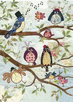 BugArt ~ Nine Birds. Amy's Cards *NEW* Original embroideries by Amy Butcher. Cards designed by Jane Crowther.
