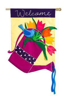 Weather and fade resistant. 28in x44in double-sided polyester applique indoor / outdoor flag.Fits regular size flag pole not included. Perfect for Spring. Packaged in Poly bag with header card.  Watering Can Flag by Walker's. Home & Gifts - Home Decor - Outdoor Alabama
