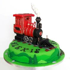 Never had I made a train! When my customers asked me for a steam engine train, at first I thought, great something new! but then I realised I only had one night to actually do it, because I was caught up with other oders and appointments. Thomas Cakes, Birthday Parties, Birthday Cake, Cake Gallery, Steam Engine, First Night, Fondant, Train Cakes, Automobile
