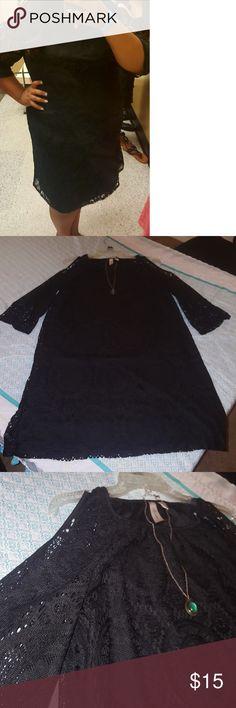 Cold Shoulder Black Dress size 1X Cute cold shoulder dress. Has lining, super comfy. Worn once. Tacera Dresses Midi