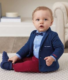 This lil villager is looking dapper in his blue knit pin striped blazer, blue dress shirt w/ detailed bow tie and apple red pants! Cute Baby Boy, Baby Boy Swag, Baby Boys, Toddler Boys, Baby Boy Newborn, Carters Baby, Toddler Boy Fashion, Little Boy Fashion, Kids Fashion