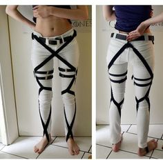Attack on Titan pants! Good reference for   if/when I do an AoT cosplay :3 Reference for Ashley- Someday she'll get her   cosplay.