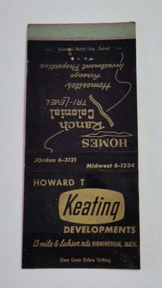 HOWARD T KEATING DEVELOPMENTS BIRMINGHAM MICHIGAN ARISTOCRAT #MatchBook Cover  To order your business' own branded #matchbooks or #matchoxes GoTo: www.GetMatches.com or CALL 800.605.7331 to Get The Process Started Today!