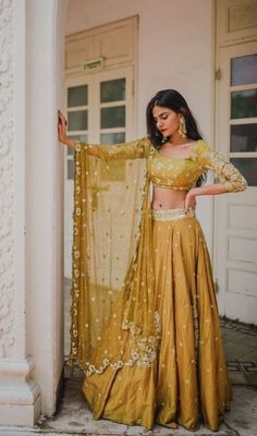 Pleats Mumbai Has The Best Lehengas Fo.- Love this mustard lehenga set by Pleats Mumbai - Indian Bridal Wear, Indian Wedding Outfits, Pakistani Outfits, Indian Outfits Modern, Indian Fashion Modern, Desi Wedding Dresses, Pakistani Bridal, Bridal Outfits, Indian Weddings